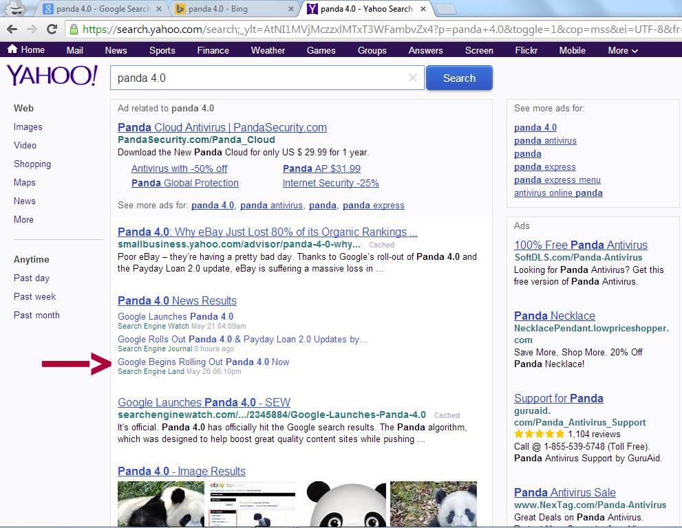 Panda 4.0 Yahoo SERP