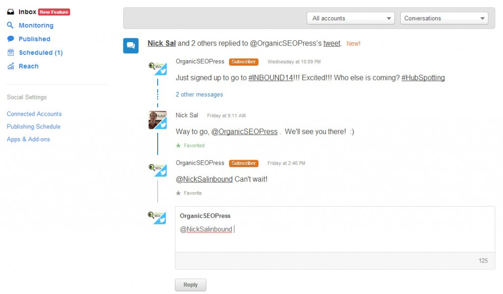 Social Inbox Tool by Hubspot - Conversation