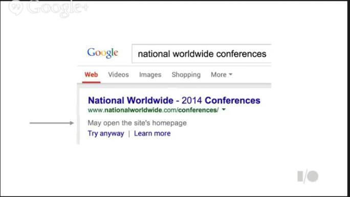 Google homepage warning
