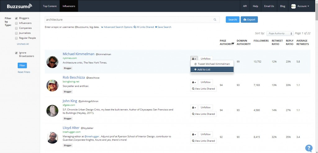 BuzzSumo Influencer Search Act on Results