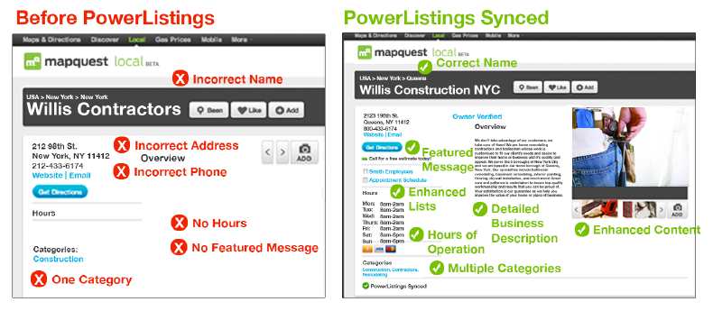 Yext PowerListings before and after