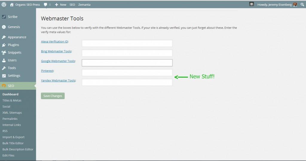 Webmaster verification screen in Yoast Wordpress SEO
