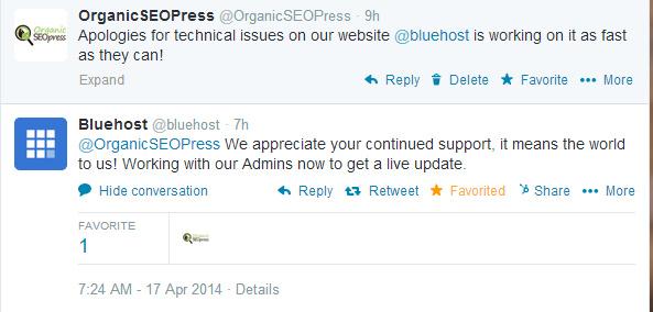 Bluehost Responds to Tweet