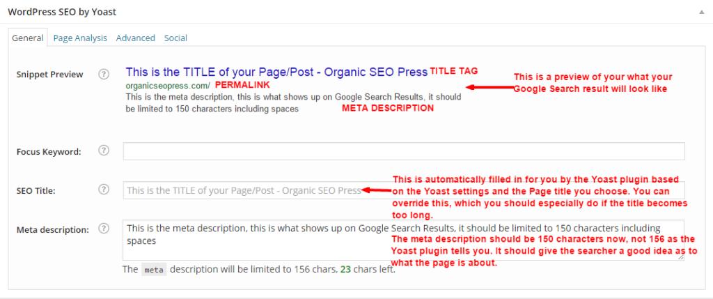 meta description and title tag