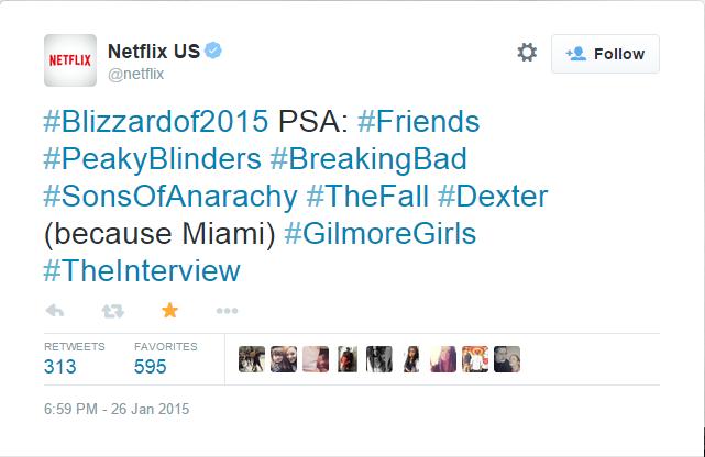 Netflix binge watching #blizzardof2015