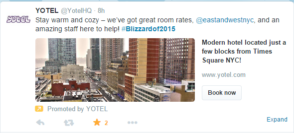 Yotel taking advantage of the #blizzardof20015