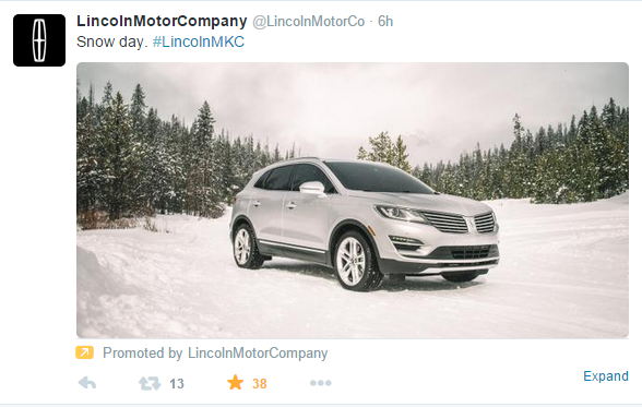 #blizzardof2015 lincoln motor company tweeting their suv in the snow