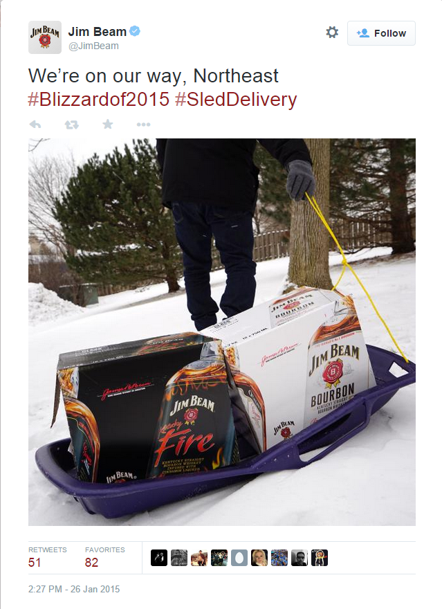 #blizzardof2015 jim beam tweet