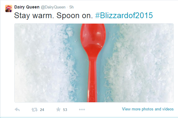 #blizzardof2015 dairy queen tweet