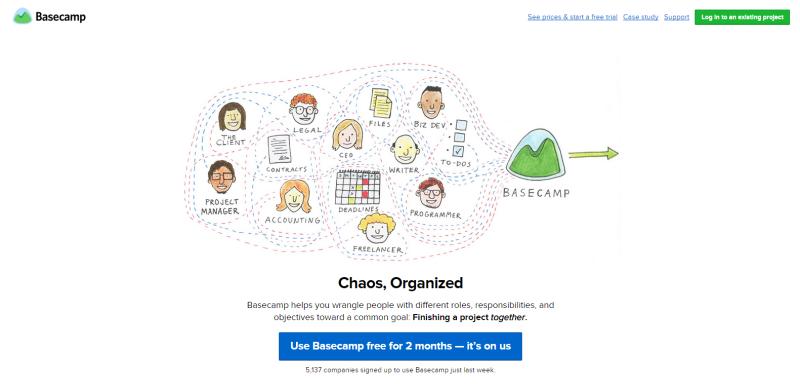Basecamp website Homepage