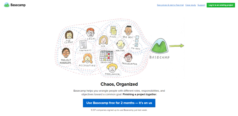 Basecamp website Homepage
