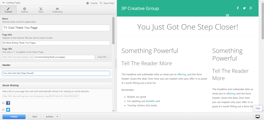 Thank You Page in HubSpot editor