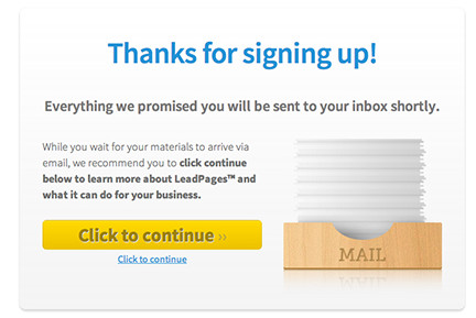 LeadPages Thank You Page Micro Copy