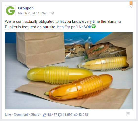 Groupon Banana Bunker Facebook Post