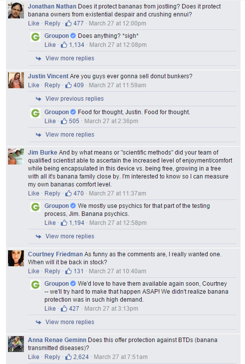 Groupon replies to every comment on Facebook