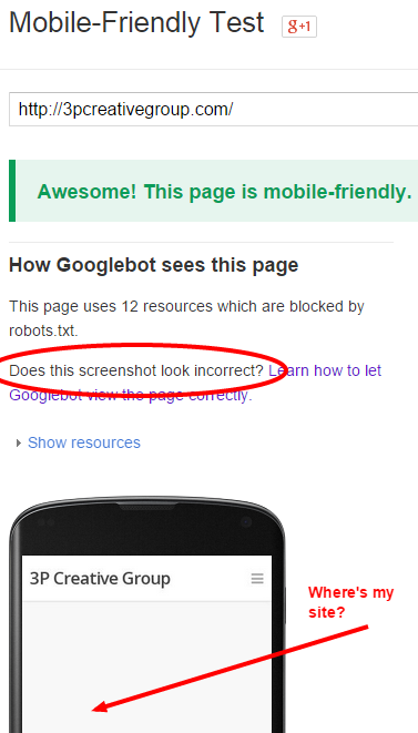 Google mobile test of 3P Creative Group