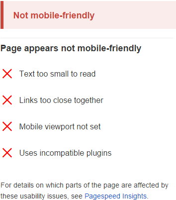 not mobile friendly issues