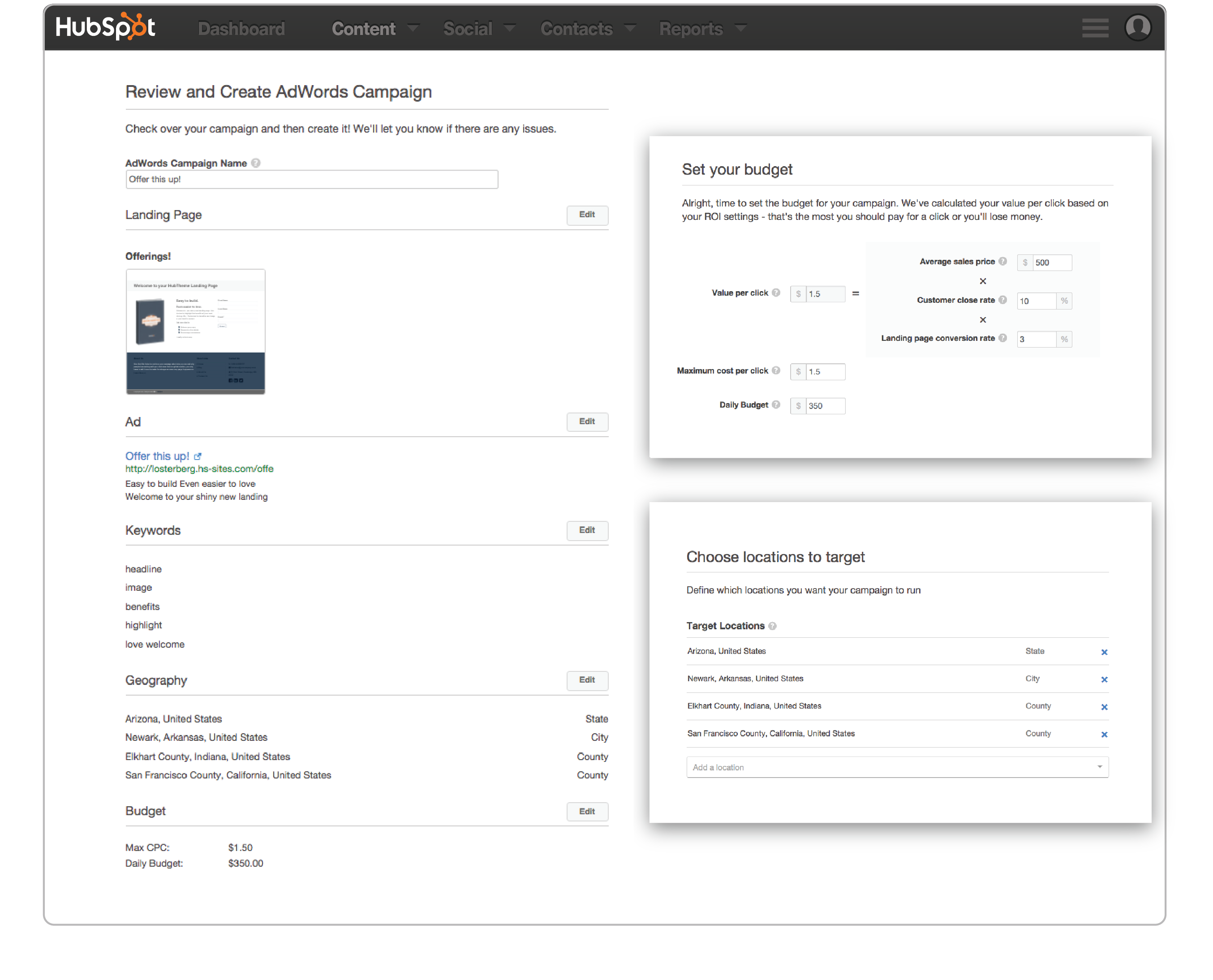 Creating a campaign with the Hubspot Ad ad-on